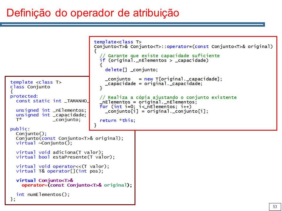 53 Definição do operador de atribuição