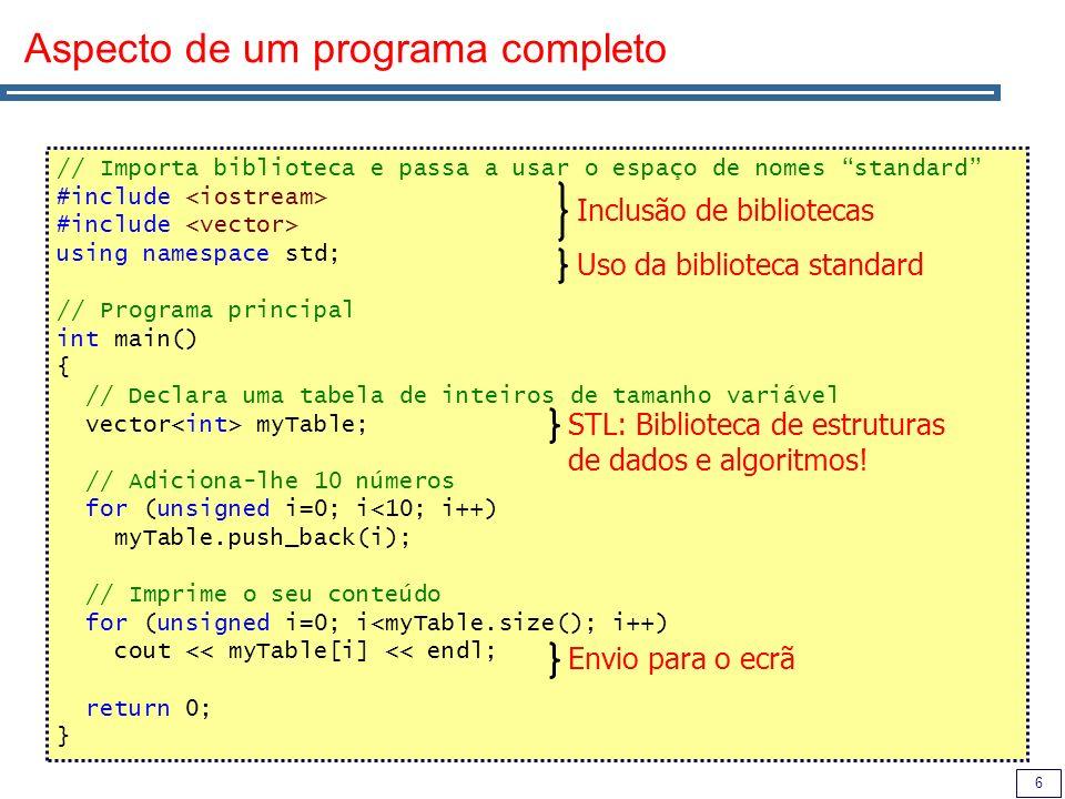 6 Aspecto de um programa completo // Importa biblioteca e passa a usar o espaço de nomes standard #include using namespace std; // Programa principal