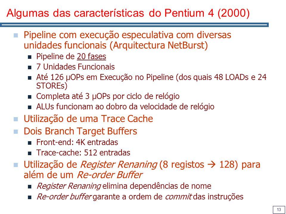 13 Algumas das características do Pentium 4 (2000) Pipeline com execução especulativa com diversas unidades funcionais (Arquitectura NetBurst) Pipeline de 20 fases 7 Unidades Funcionais Até 126 µOPs em Execução no Pipeline (dos quais 48 LOADs e 24 STOREs) Completa até 3 µOPs por ciclo de relógio ALUs funcionam ao dobro da velocidade de relógio Utilização de uma Trace Cache Dois Branch Target Buffers Front-end: 4K entradas Trace-cache: 512 entradas Utilização de Register Renaning (8 registos 128) para além de um Re-order Buffer Register Renaning elimina dependências de nome Re-order buffer garante a ordem de commit das instruções
