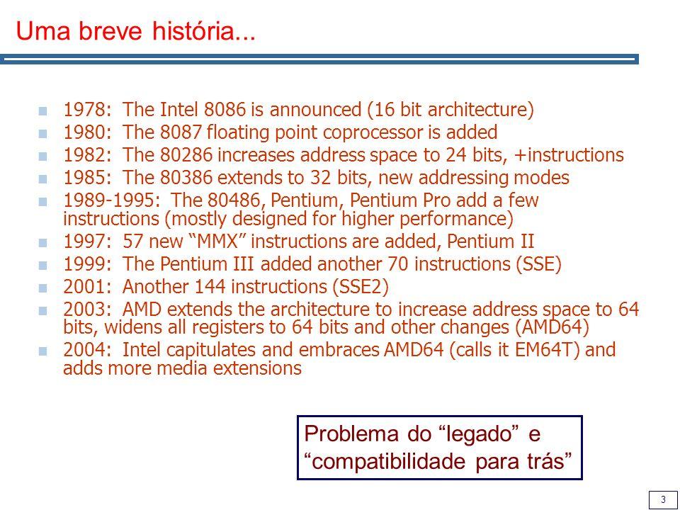 4 Visão geral Complexidade: Instruções podem ter um tamanho de 1 a 17 bytes Um operando funciona sempre como origem e destino Um operando pode vir de memória Formas de endereçamento complexas O que salvou a arquitectura ao longo dos anos: As instruções mais frequentes não são difíceis de implementar Os compiladores não geram as instruções lentas e não usam a parte da arquitectura que é lenta O processador foi convertido à arquitectura RISC, mantendo apenas um front-end que descodifica as instruções complexas em µOPs RISC, simples....