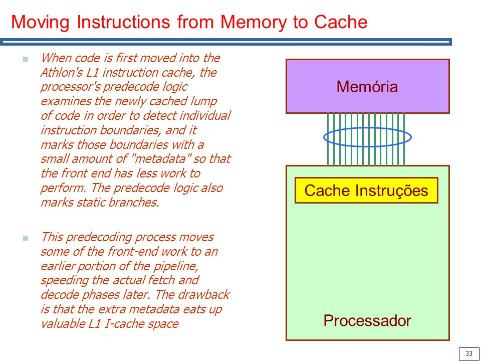 33 Moving Instructions from Memory to Cache When code is first moved into the Athlon s L1 instruction cache, the processor s predecode logic examines the newly cached lump of code in order to detect individual instruction boundaries, and it marks those boundaries with a small amount of metadata so that the front end has less work to perform.