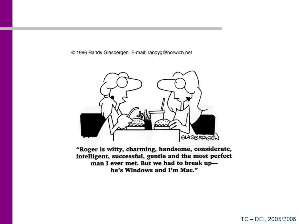TC – DEI, 2005/2006 Filas do Sistema Operativo Ready Queue Fila onde aguardam todos os processos que estão à espera de executar Blocked Queue Fila onde aguardam todos os processos que estão à espera que uma operação de entrada/saída complete ou de um evento especial Running (não é uma fila) Processo que se encontra a executar Apenas este processo o Sistema Operativo ocupam tempo de processador
