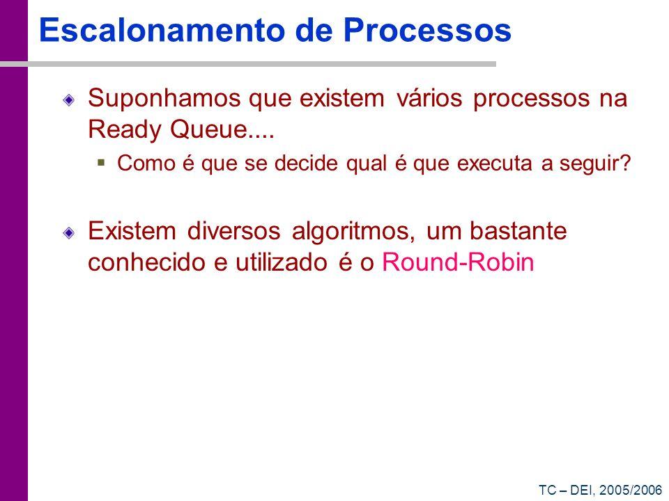 TC – DEI, 2005/2006 Escalonamento de Processos Suponhamos que existem vários processos na Ready Queue.... Como é que se decide qual é que executa a se