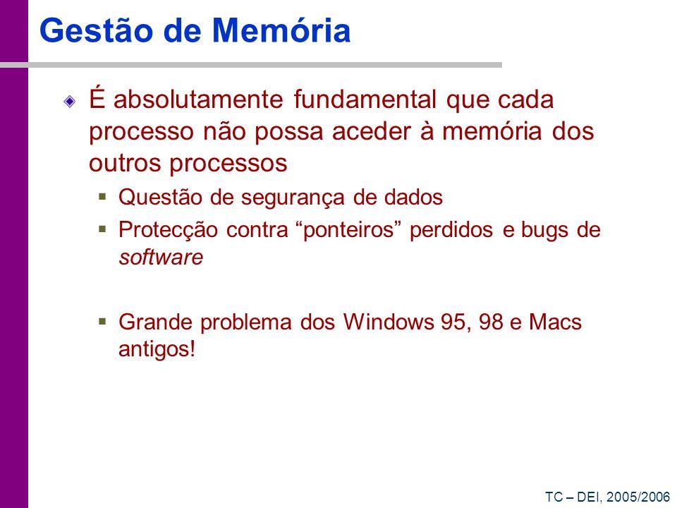 TC – DEI, 2005/2006 Gestão de Memória É absolutamente fundamental que cada processo não possa aceder à memória dos outros processos Questão de seguran