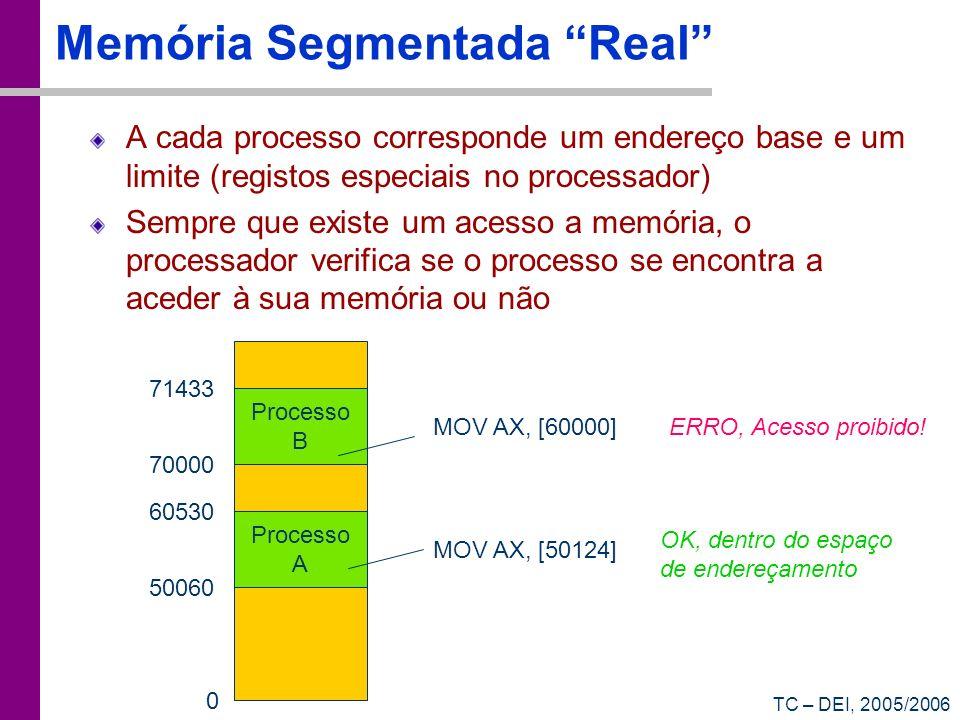 TC – DEI, 2005/2006 Memória Segmentada Real A cada processo corresponde um endereço base e um limite (registos especiais no processador) Sempre que ex