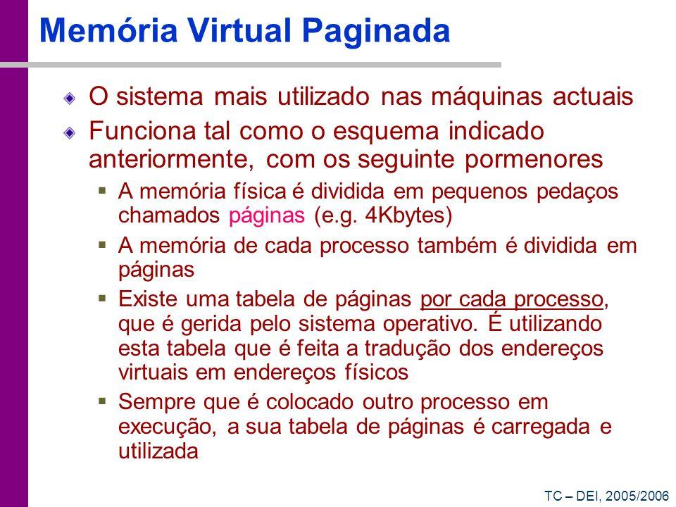 TC – DEI, 2005/2006 Memória Virtual Paginada O sistema mais utilizado nas máquinas actuais Funciona tal como o esquema indicado anteriormente, com os