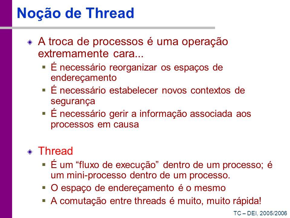 TC – DEI, 2005/2006 Noção de Thread A troca de processos é uma operação extremamente cara... É necessário reorganizar os espaços de endereçamento É ne