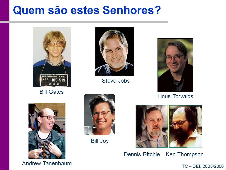 TC – DEI, 2005/2006 Quem são estes Senhores? Dennis Ritchie Ken Thompson Steve Jobs Bill Gates Bill Joy Linus Torvalds Andrew Tanenbaum