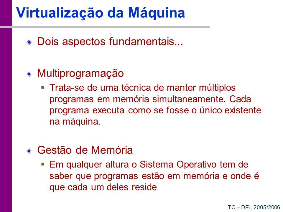 TC – DEI, 2005/2006 Virtualização da Máquina Dois aspectos fundamentais... Multiprogramação Trata-se de uma técnica de manter múltiplos programas em m