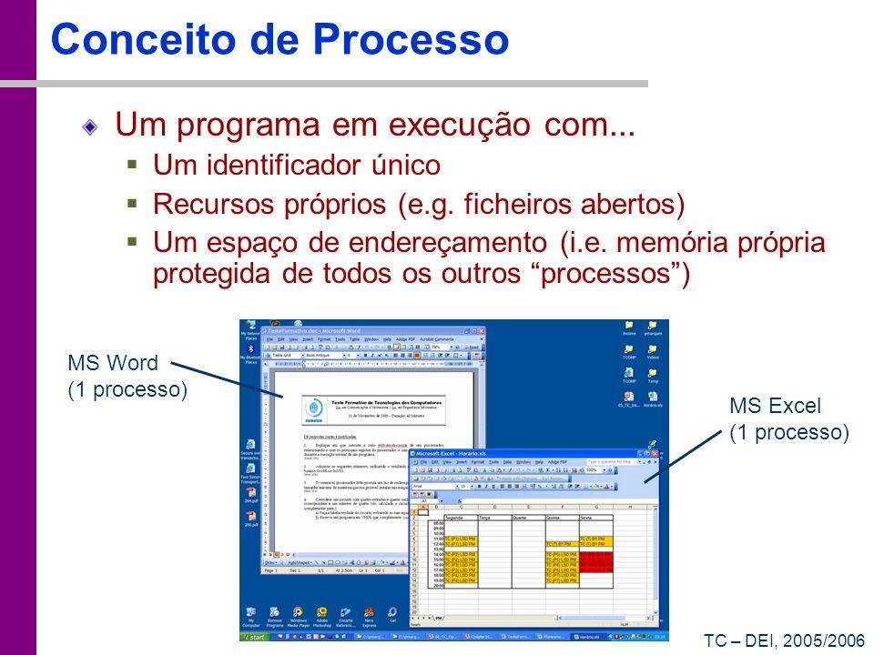 TC – DEI, 2005/2006 Comutação entre Processos De alguns em alguns ms é gerada uma interrupção Quanto existe uma interrupção, deixa-se de executar o código do utilizador e passa-se a executar o código do sistema operativo O sistema operativo pode então comutar para outro processo (escalonamento preemptivo) total = 0; for (int i=0; i<20000; i++) total = total + i; printf(total=%d\n, total); while (!feof(fd)) { if (fscanf(fd, %d, &d) == 1) printf(%d\n, d); } (...) Nível do Utilizador Nível do Kernel RTC Interrupt Handler