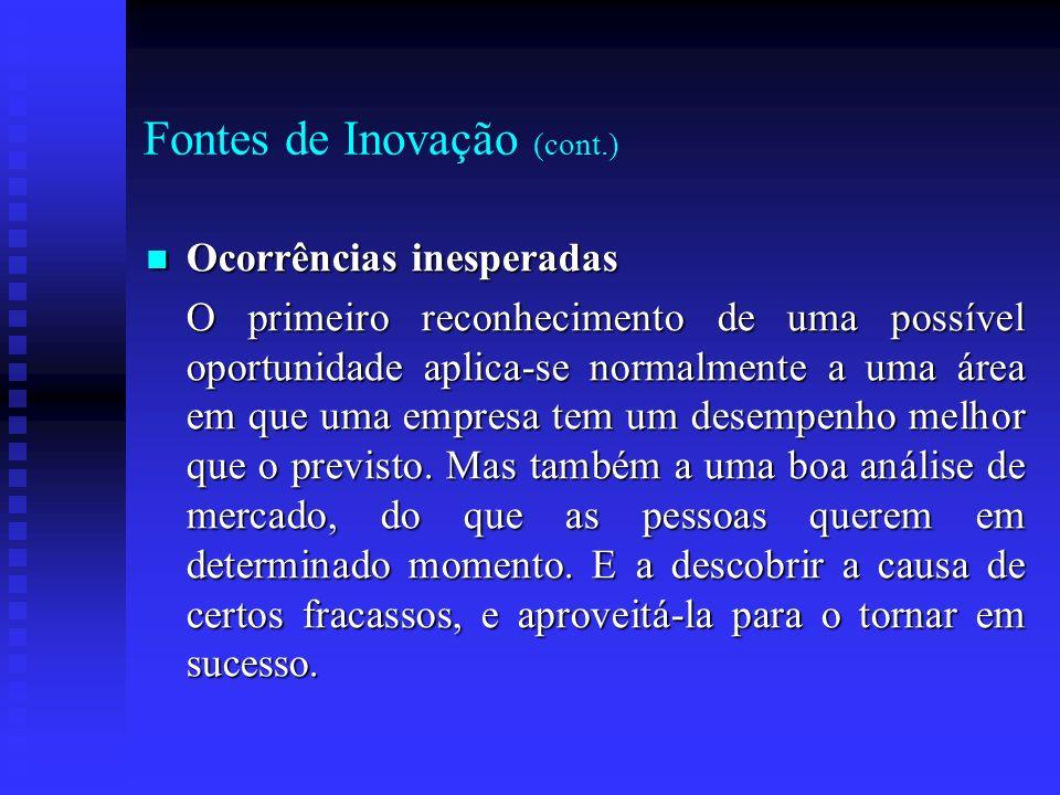 Fontes de Inovação (cont.) Ocorrências inesperadas Ocorrências inesperadas O primeiro reconhecimento de uma possível oportunidade aplica-se normalment