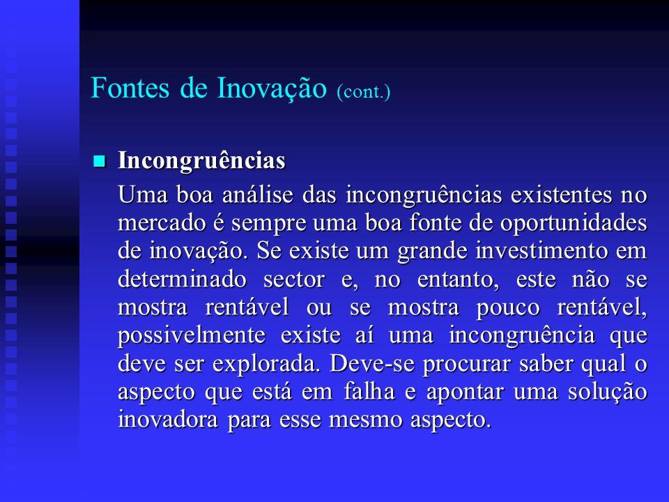 Fontes de Inovação (cont.) Incongruências Incongruências Uma boa análise das incongruências existentes no mercado é sempre uma boa fonte de oportunida