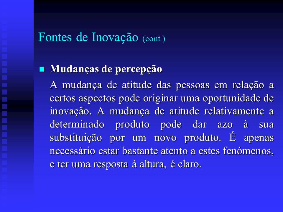 Fontes de Inovação (cont.) Mudanças de percepção Mudanças de percepção A mudança de atitude das pessoas em relação a certos aspectos pode originar uma