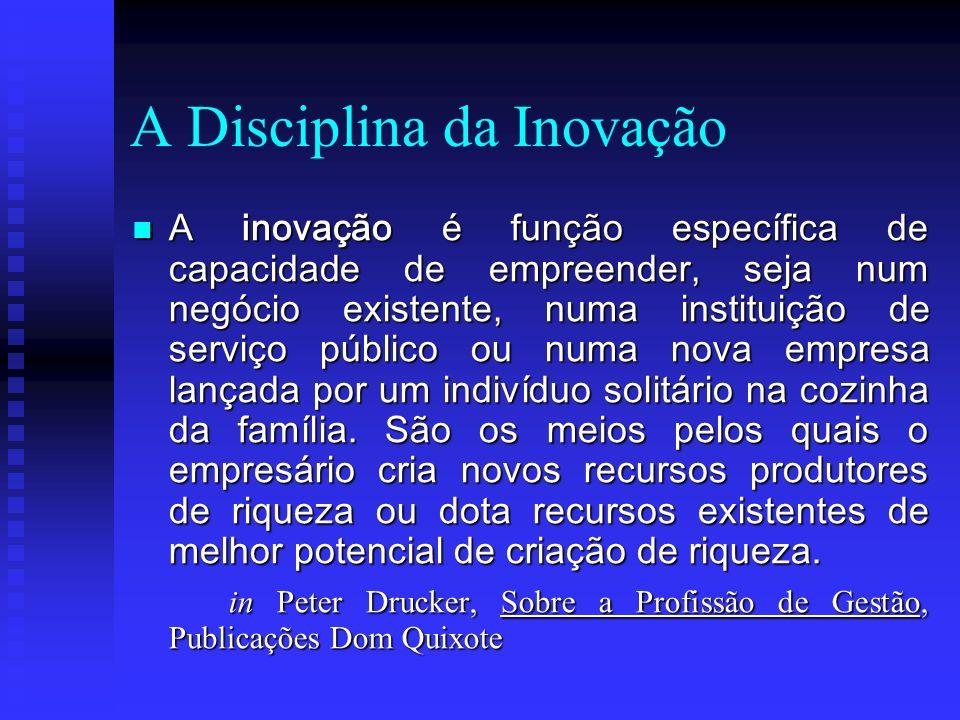 A Disciplina da Inovação A inovação é função específica de capacidade de empreender, seja num negócio existente, numa instituição de serviço público o