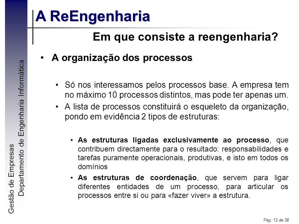 Gestão de Empresas A ReEngenharia Departamento de Engenharia Informática Pag. 12 de 38 Em que consiste a reengenharia? A organização dos processos Só