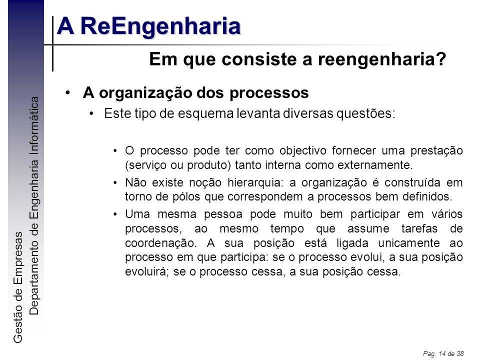 Gestão de Empresas A ReEngenharia Departamento de Engenharia Informática Pag. 14 de 38 Em que consiste a reengenharia? A organização dos processos Est