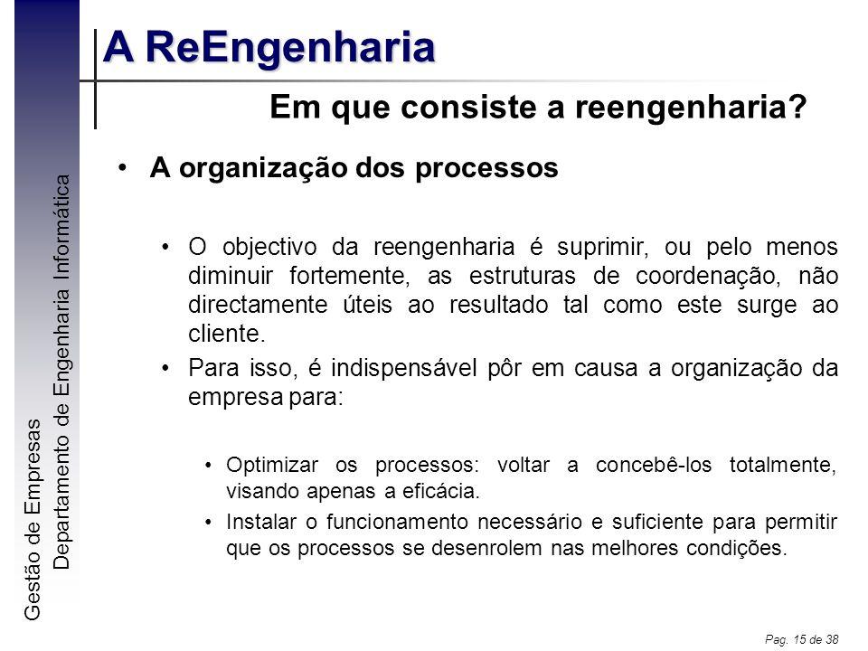 Gestão de Empresas A ReEngenharia Departamento de Engenharia Informática Pag. 15 de 38 Em que consiste a reengenharia? A organização dos processos O o