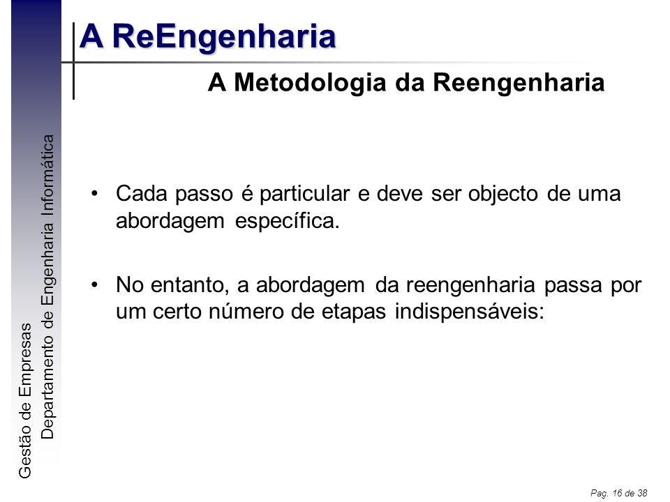 Gestão de Empresas A ReEngenharia Departamento de Engenharia Informática Pag. 16 de 38 A Metodologia da Reengenharia Cada passo é particular e deve se