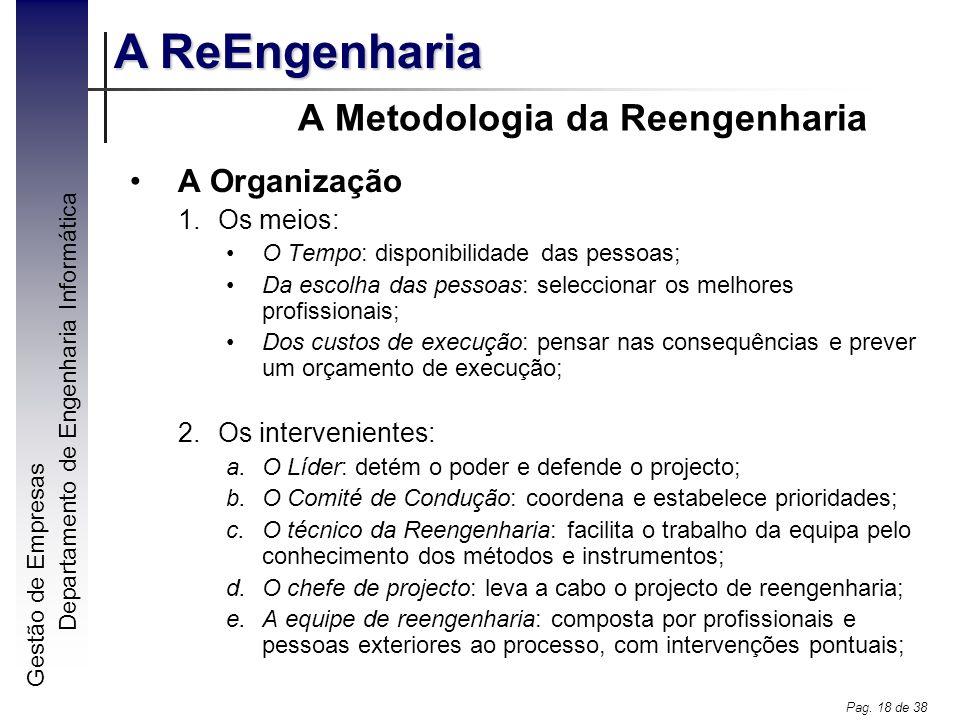 Gestão de Empresas A ReEngenharia Departamento de Engenharia Informática Pag. 18 de 38 A Metodologia da Reengenharia A Organização 1.Os meios: O Tempo