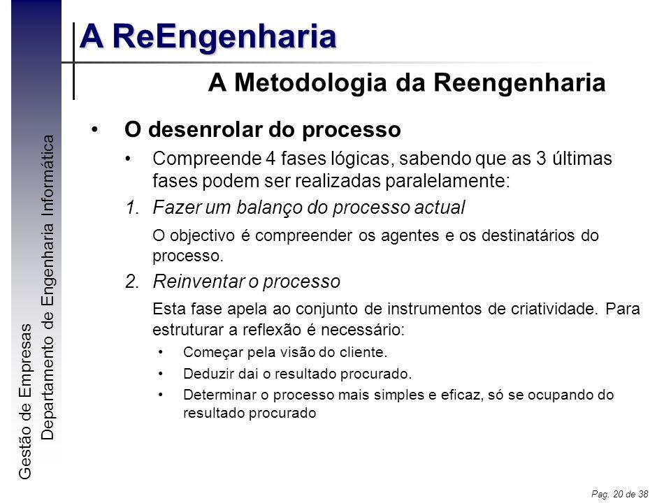 Gestão de Empresas A ReEngenharia Departamento de Engenharia Informática Pag. 20 de 38 A Metodologia da Reengenharia O desenrolar do processo Compreen