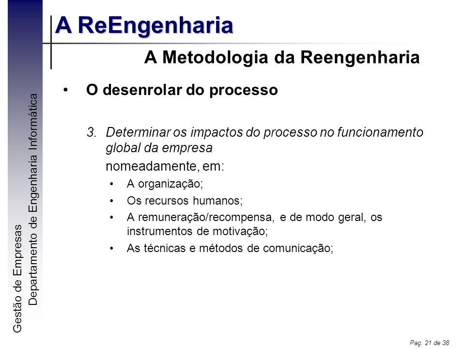 Gestão de Empresas A ReEngenharia Departamento de Engenharia Informática Pag. 21 de 38 A Metodologia da Reengenharia O desenrolar do processo 3.Determ