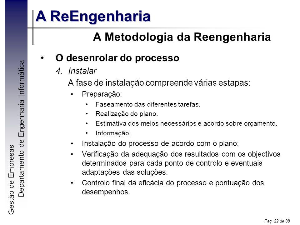 Gestão de Empresas A ReEngenharia Departamento de Engenharia Informática Pag. 22 de 38 A Metodologia da Reengenharia O desenrolar do processo 4.Instal