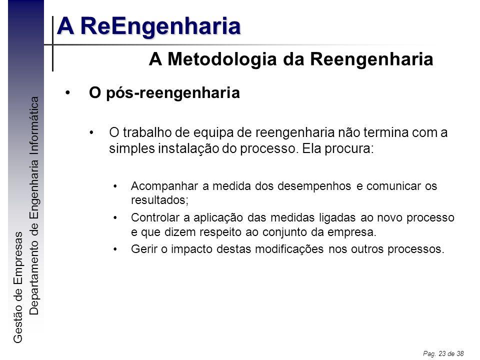 Gestão de Empresas A ReEngenharia Departamento de Engenharia Informática Pag. 23 de 38 A Metodologia da Reengenharia O pós-reengenharia O trabalho de