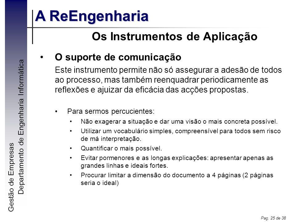 Gestão de Empresas A ReEngenharia Departamento de Engenharia Informática Pag. 25 de 38 Os Instrumentos de Aplicação O suporte de comunicação Este inst