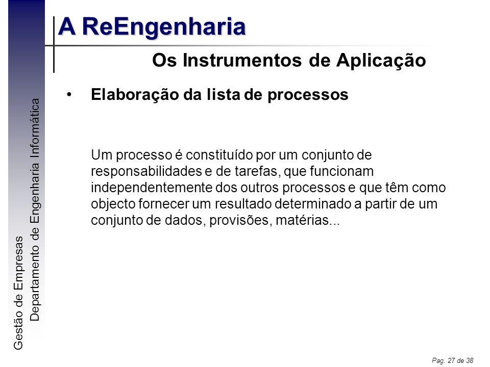 Gestão de Empresas A ReEngenharia Departamento de Engenharia Informática Pag. 27 de 38 Os Instrumentos de Aplicação Elaboração da lista de processos U
