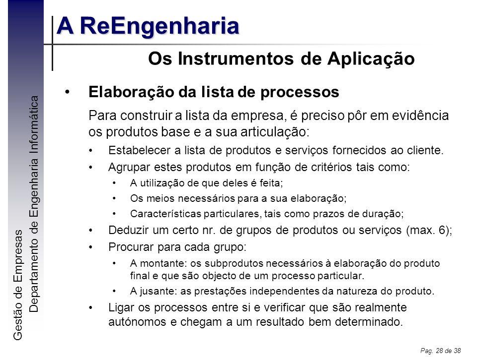 Gestão de Empresas A ReEngenharia Departamento de Engenharia Informática Pag. 28 de 38 Os Instrumentos de Aplicação Elaboração da lista de processos P