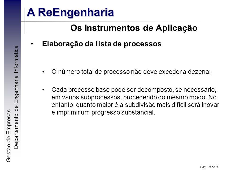 Gestão de Empresas A ReEngenharia Departamento de Engenharia Informática Pag. 29 de 38 Os Instrumentos de Aplicação Elaboração da lista de processos O
