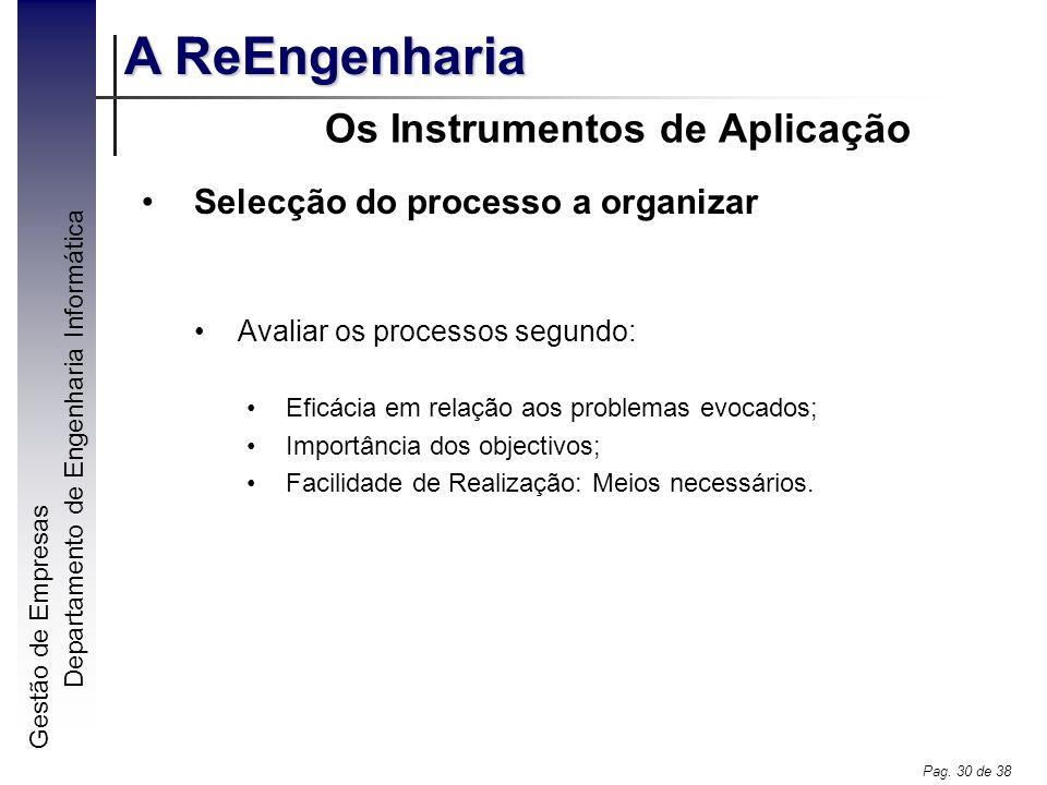 Gestão de Empresas A ReEngenharia Departamento de Engenharia Informática Pag. 30 de 38 Os Instrumentos de Aplicação Selecção do processo a organizar A