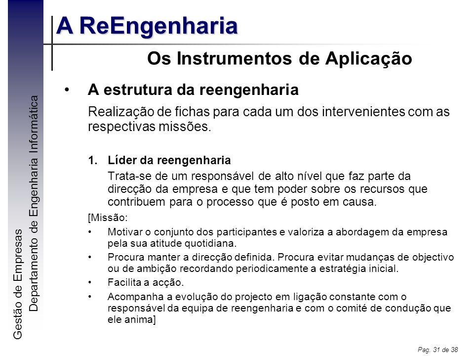 Gestão de Empresas A ReEngenharia Departamento de Engenharia Informática Pag. 31 de 38 Os Instrumentos de Aplicação A estrutura da reengenharia Realiz
