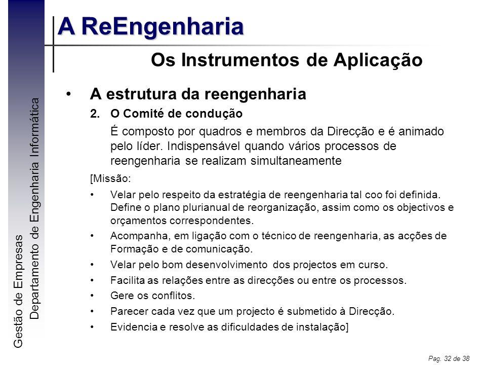 Gestão de Empresas A ReEngenharia Departamento de Engenharia Informática Pag. 32 de 38 Os Instrumentos de Aplicação A estrutura da reengenharia 2.O Co