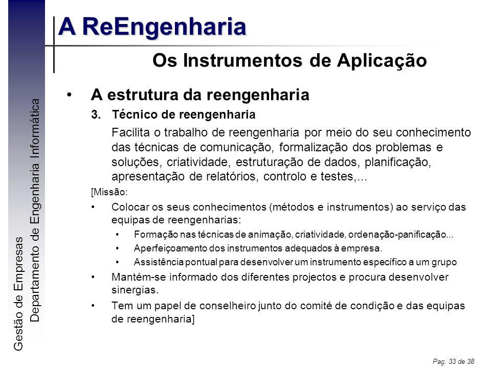 Gestão de Empresas A ReEngenharia Departamento de Engenharia Informática Pag. 33 de 38 Os Instrumentos de Aplicação A estrutura da reengenharia 3.Técn