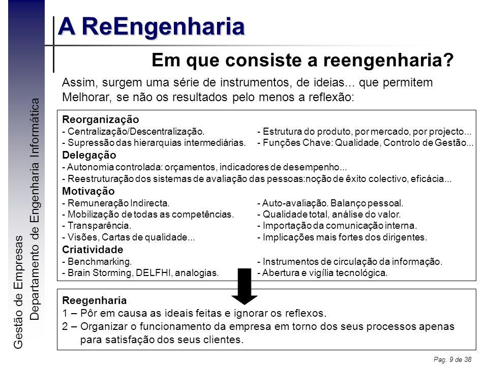 Gestão de Empresas A ReEngenharia Departamento de Engenharia Informática Pag. 9 de 38 Em que consiste a reengenharia? Reegenharia 1 – Pôr em causa as