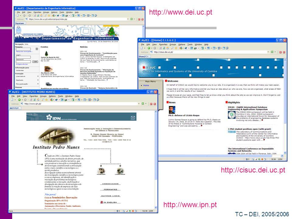 TC – DEI, 2005/2006 http://cisuc.dei.uc.pt http://www.dei.uc.pt http://www.ipn.pt