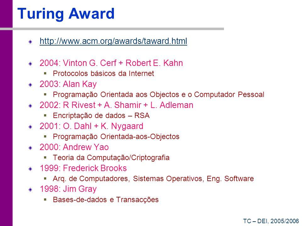 TC – DEI, 2005/2006 Turing Award (2) http://www.acm.org/awards/taward.html PARA SABER MAIS:
