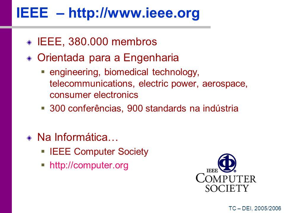 TC – DEI, 2005/2006 IEEE Computer ACM Crossroads Communications of the ACM