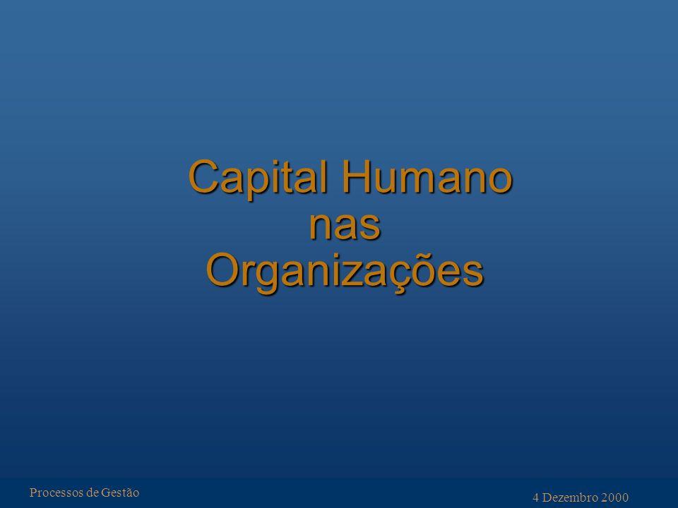 Capital Humano nas Organizações Capital Humano nas Organizações Processos de Gestão 4 Dezembro 2000