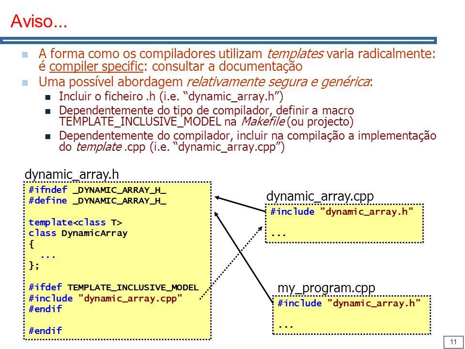 11 Aviso... A forma como os compiladores utilizam templates varia radicalmente: é compiler specific: consultar a documentação Uma possível abordagem r