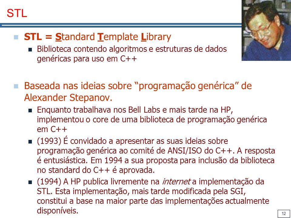 12 STL STL = Standard Template Library Biblioteca contendo algoritmos e estruturas de dados genéricas para uso em C++ Baseada nas ideias sobre program