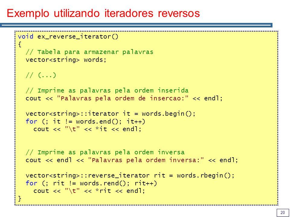 20 Exemplo utilizando iteradores reversos void ex_reverse_iterator() { // Tabela para armazenar palavras vector words; // (...) // Imprime as palavras