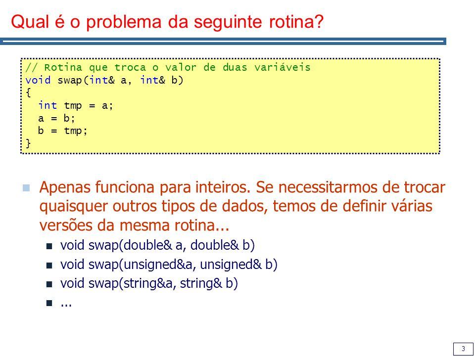 4 Programação utilizando genéricos (templates) Permite criar uma família de funções, parametrizadas por um tipo de dados abstracto.
