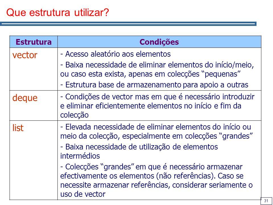 31 Que estrutura utilizar? EstruturaCondições vector - Acesso aleatório aos elementos - Baixa necessidade de eliminar elementos do início/meio, ou cas