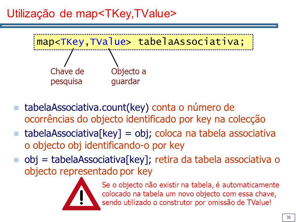 36 Utilização de map tabelaAssociativa.count(key) conta o número de ocorrências do objecto identificado por key na colecção tabelaAssociativa[key] = o