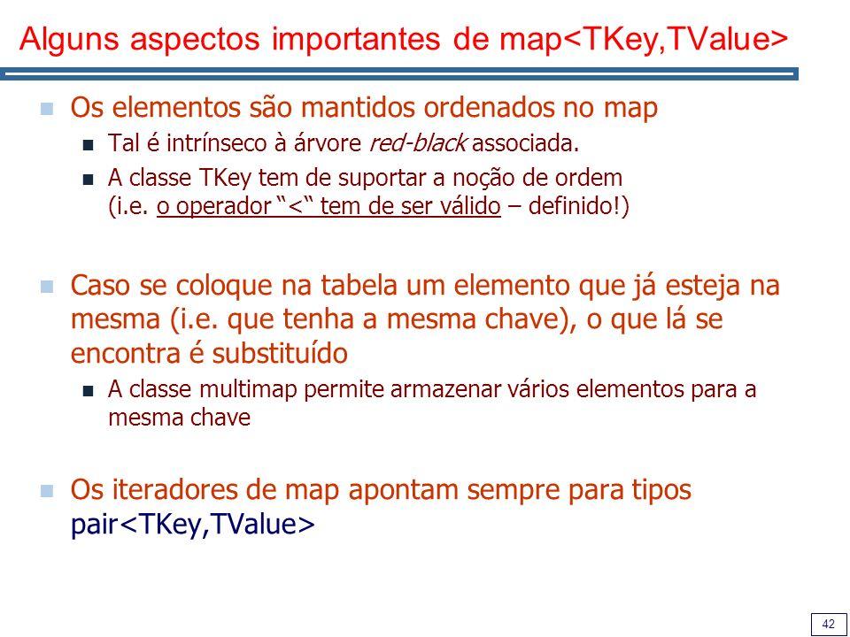 42 Alguns aspectos importantes de map Os elementos são mantidos ordenados no map Tal é intrínseco à árvore red-black associada. A classe TKey tem de s