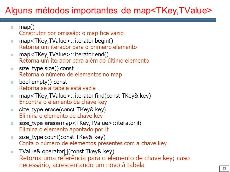 43 Alguns métodos importantes de map map() Construtor por omissão: o map fica vazio map ::iterator begin() Retorna um iterador para o primeiro element
