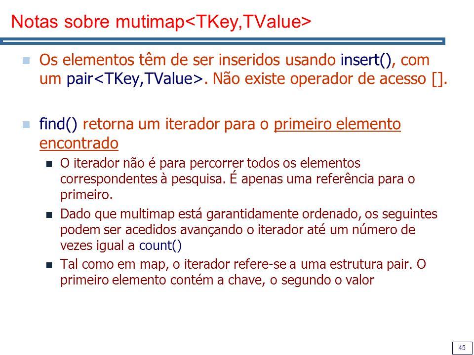 45 Notas sobre mutimap Os elementos têm de ser inseridos usando insert(), com um pair. Não existe operador de acesso []. find() retorna um iterador pa