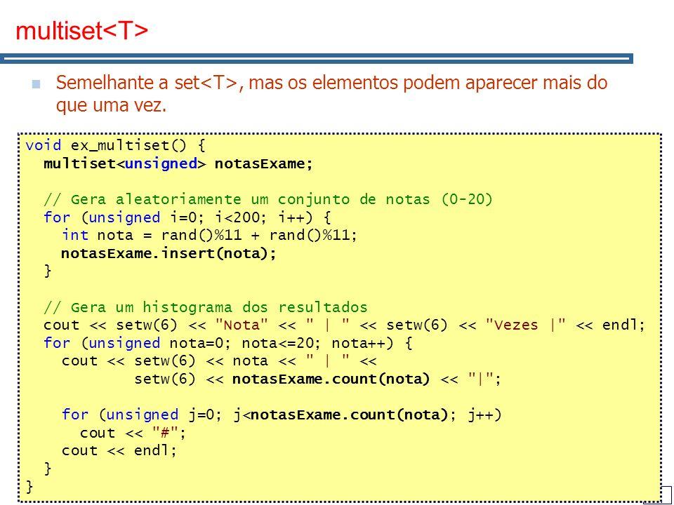47 multiset Semelhante a set, mas os elementos podem aparecer mais do que uma vez. void ex_multiset() { multiset notasExame; // Gera aleatoriamente um